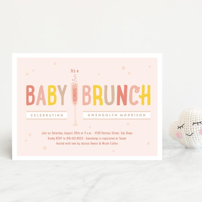 """Baby Brunch"" - Baby Shower Postcards in Dandelion by Erica Krystek."