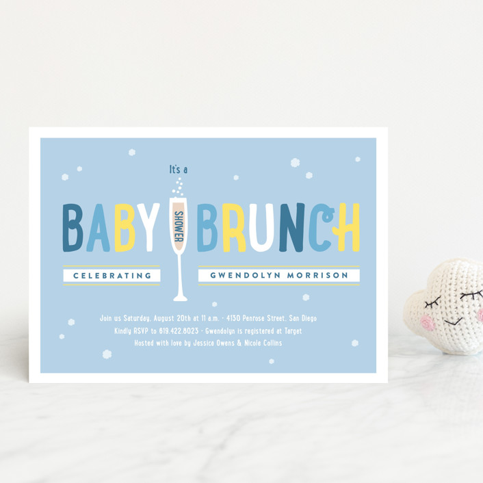 """Baby Brunch"" - Baby Shower Postcards in Sky by Erica Krystek."