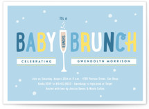 This is a blue baby shower postcard by Erica Krystek called Baby Brunch with standard printing on signature in postcard.
