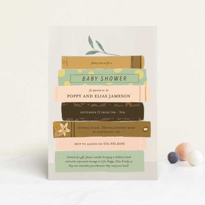 """Book Lovers"" - Whimsical & Funny Baby Shower Postcards in Mustard by Lottie Made Co."