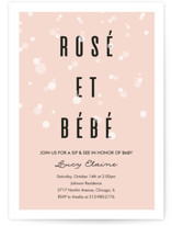 This is a pink baby shower postcard by Julie Hebert called Rosé Et Bébé with standard printing on signature in postcard.