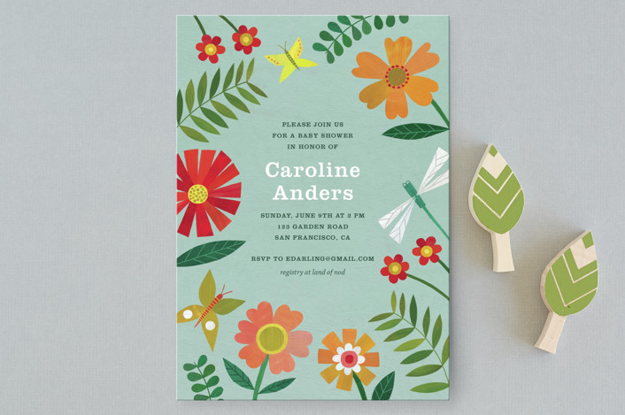 """Garden Border"" - Baby Shower Postcards in Sky by melanie mikecz."