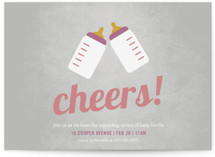 This is a grey baby shower postcard by Picklelily called Cheers! with standard printing on signature in postcard.