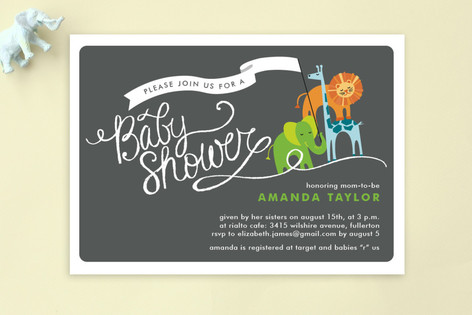 Baby Animal Parade Baby Shower Postcards