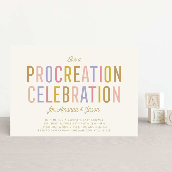 """Procreation Celebration"" - Baby Shower Postcards in Vintage by Stacey Hill."