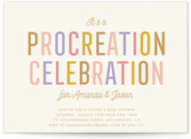 This is a gold baby shower postcard by Stacey Hill called Procreation Celebration with standard printing on signature in postcard.