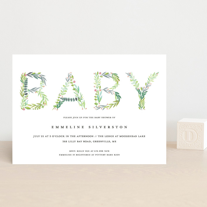 """""""Gentle Foliage Letters"""" - Baby Shower Postcards in Succulent by Petra Kern."""