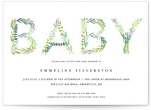 This is a green baby shower postcard by Petra Kern called Gentle Foliage Letters with standard printing on signature in postcard.