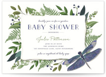 This is a green baby shower postcard by Susan Moyal called Nature Baby with standard printing on signature in postcard.