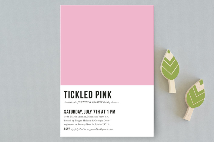 """tickled pink"" - Baby Shower Postcards in Petal by design market."