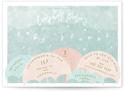 Rain Baby Shower Postcards