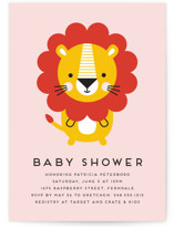 This is a pink baby shower postcard by Genna Cowsert called Geometric Lion with standard printing on signature in postcard.