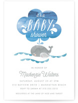 This is a blue baby shower postcard by Shirley Lin Schneider called Whale Love with standard printing on signature in postcard.