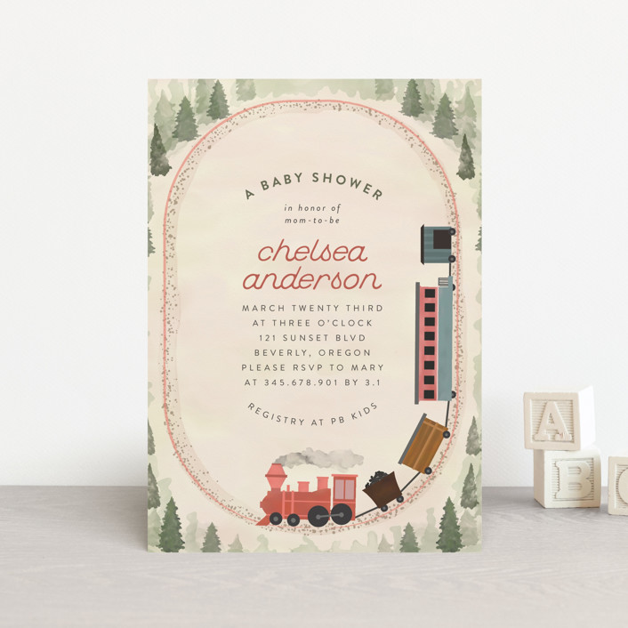 """""""Miniature Railroad"""" - Baby Shower Postcards in Tomato by Grae."""