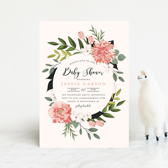 """""""Summer Shower"""" - Baby Shower Postcards in Blush by Susan Moyal."""
