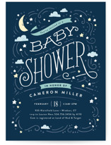 This is a blue baby shower postcard by Jennifer Wick called Moon and stars with standard printing on signature in postcard.