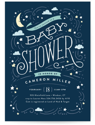 Moon and stars Baby Shower Postcards