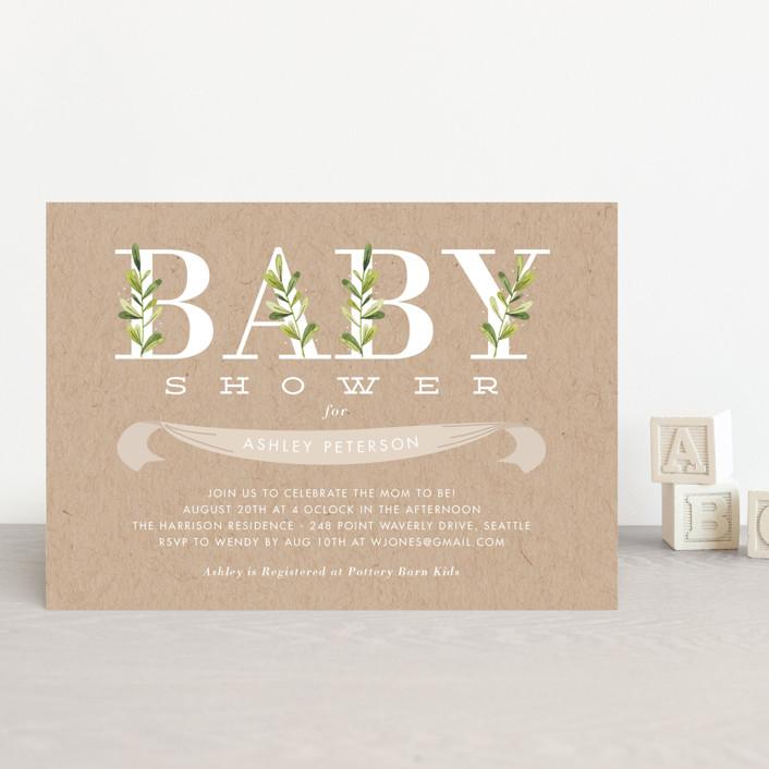 """Botanical"" - Baby Shower Postcards in Lilypad by Oma N. Ramkhelawan."