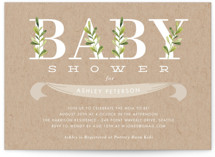This is a green baby shower postcard by Oma N. Ramkhelawan called Botanical with standard printing on signature in postcard.
