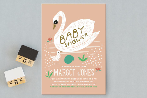 Swan Baby Shower Baby Shower Postcards