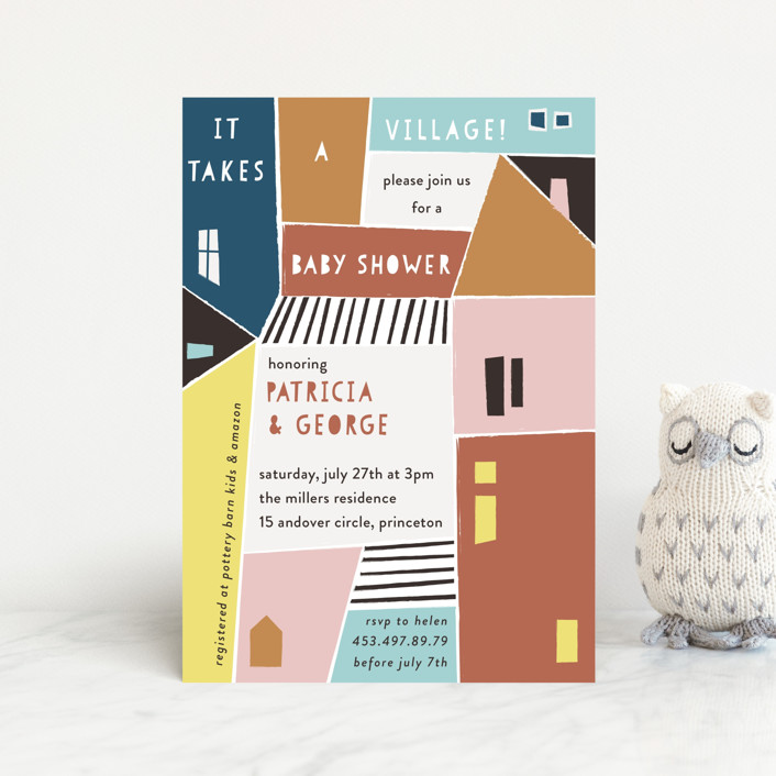 """""""Papercut Village"""" - Baby Shower Postcards in Earth by lulu and isabelle."""