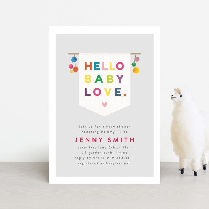 """""""Baby Felt"""" - Baby Shower Postcards in Pebble by Michelle Poe."""