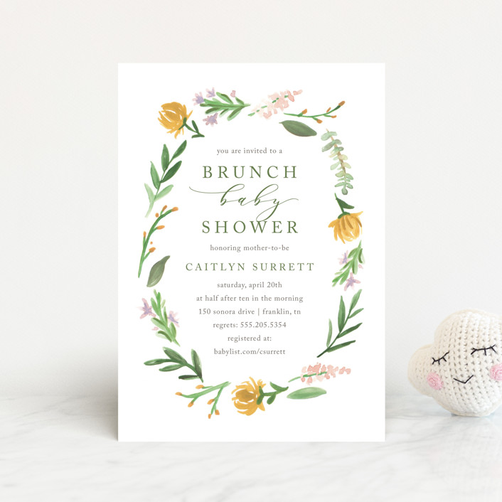 """English Garden"" - Baby Shower Postcards in Goldenrod by Amy Kross."