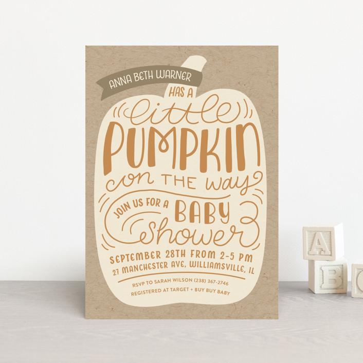 """""""Little Pumpkin"""" - Baby Shower Postcards in Vanilla by Laura Hankins."""