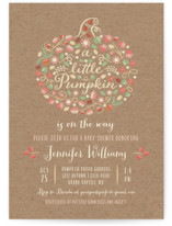 This is a brown baby shower postcard by Paper Sun Studio called Little Pumpkin with standard printing on signature in postcard.