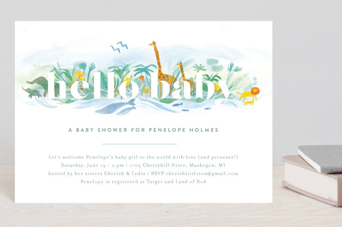 """""""Whole World"""" - Baby Shower Postcards in Whale by Rebecca Daublin."""
