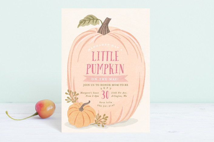 """Autumn Pumpkin"" - Baby Shower Postcards in Peach by Karidy Walker."