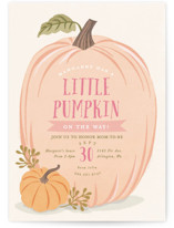 This is a pink baby shower postcard by Karidy Walker called Autumn Pumpkin with standard printing on signature in postcard.