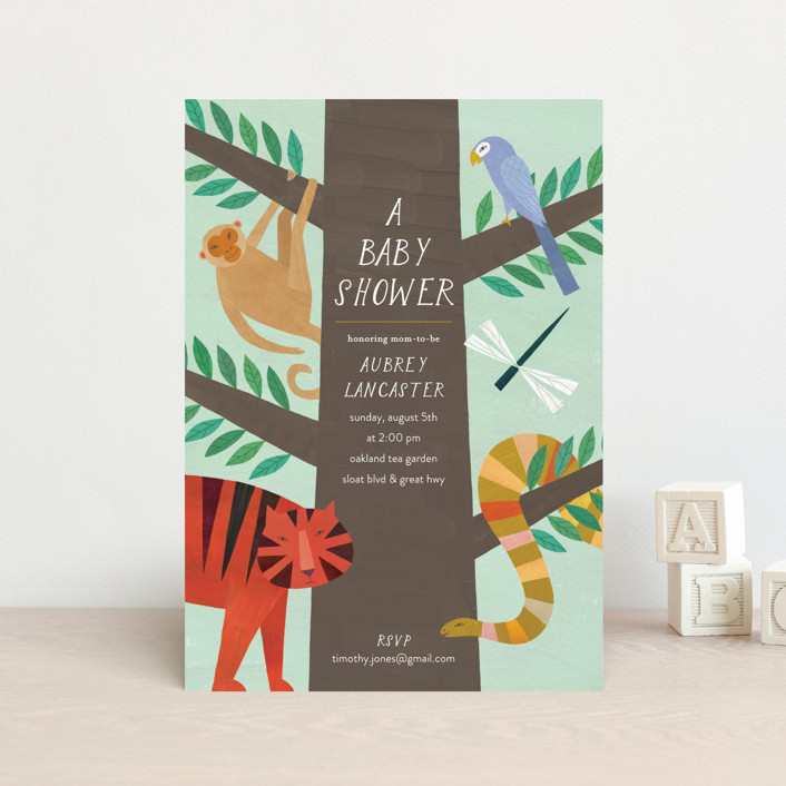 """""""Jungle Animals"""" - Baby Shower Postcards in Forest by melanie mikecz."""