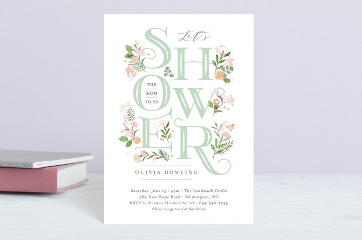 """Cascading Shower"" - Baby Shower Postcards in Sage by Jennifer Wick."
