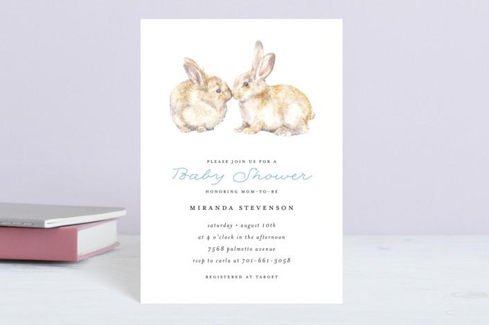 """Snuggling Bunnies"" - Baby Shower Postcards in Pond by Lauren Rogoff."