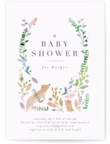 This is a green baby shower postcard by Lori Wemple called Woodland with standard printing on signature in postcard.