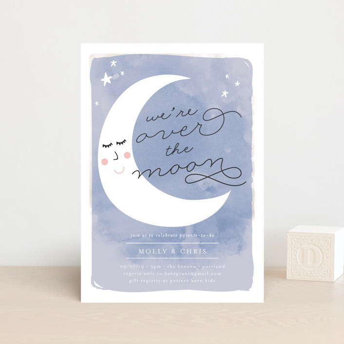 """Over the Crescent Moon"" - Baby Shower Postcards in Horizon by Lisa McLean."