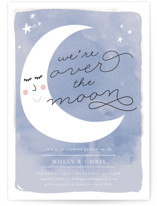 This is a blue baby shower postcard by Lisa McLean called Over the Crescent Moon with standard printing on signature in postcard.