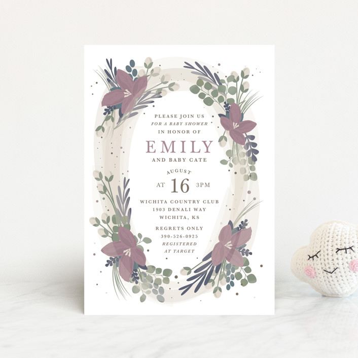 """Floral Oval"" - Baby Shower Postcards in Blush by Bethany Anderson."