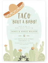 This is a green baby shower postcard by Joanna Griffin called Nacho Baby with standard printing on signature in postcard.