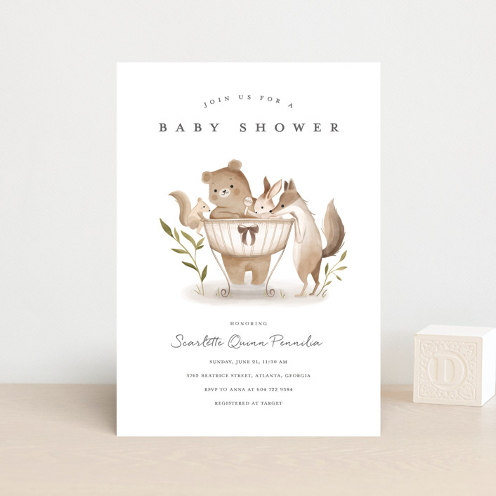 """""""Woodland Baby"""" - Whimsical & Funny Baby Shower Postcards in Neutral by Vivian Yiwing."""
