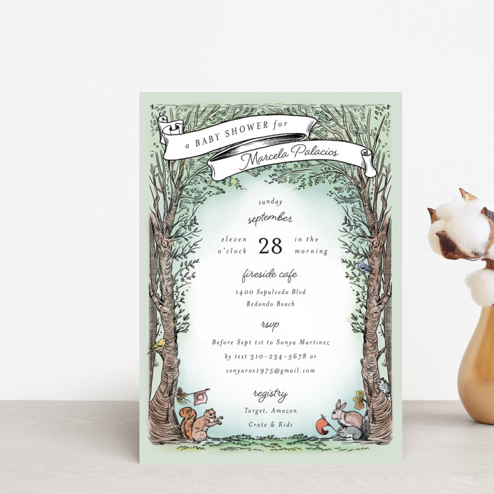 """""""Victorian Forest Scene"""" - Whimsical & Funny Baby Shower Postcards in Mint by Becky Nimoy."""