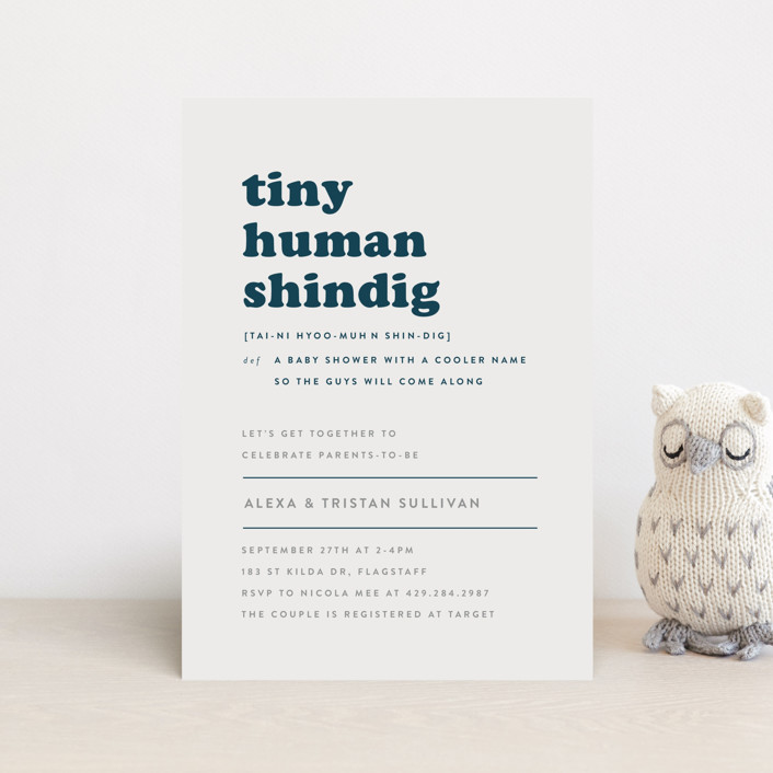 """Tiny Human"" - Funny Baby Shower Postcards in Whale by Bonjour Berry."