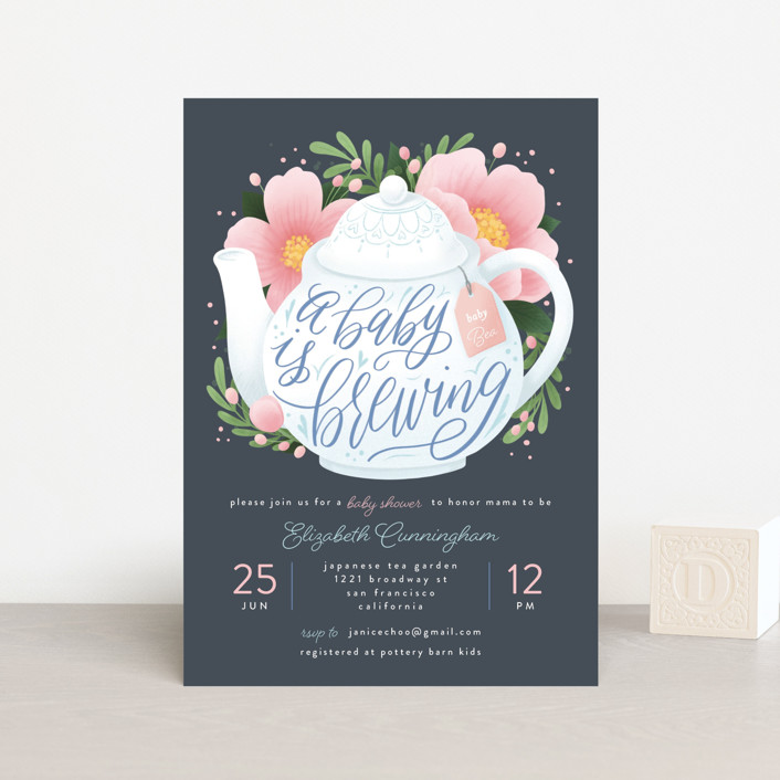 """""""A Baby Is Brewing"""" - Whimsical & Funny Baby Shower Postcards in Navy by Four Wet Feet Studio."""