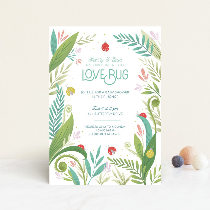 """Little Love Bug"" - Baby Shower Postcards in Ladybug by Gia Graham."