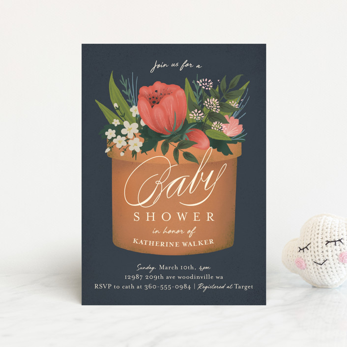 """a garden of new life"" - Baby Shower Postcards in Navy by Heather Francisco."
