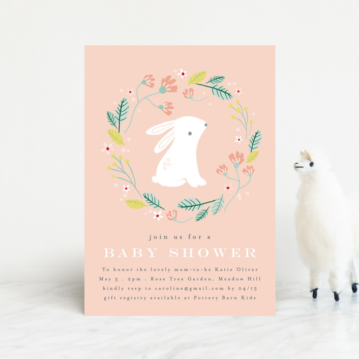 """""""Meadow"""" - Whimsical & Funny Baby Shower Postcards in Blush by Angela Thompson."""