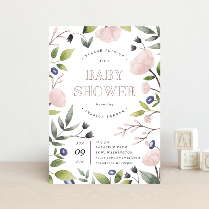 """Flowers for baby"" - Baby Shower Postcards in Rose by Yuliya Evseeva."