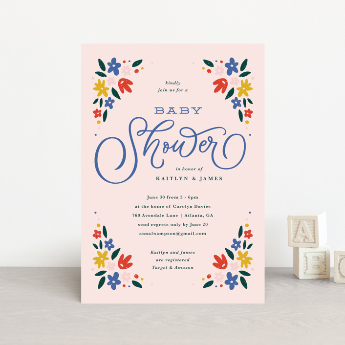 """Wildflower Blooms"" - Baby Shower Postcards in Peony by Kristen Smith."