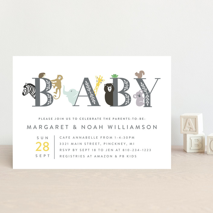 """Animal Baby"" - Whimsical & Funny Baby Shower Postcards in Charcoal by Basil Design Studio."